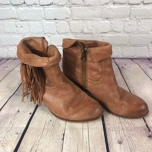 Sam Edelman Brown Leather Fringe Ankle Boots
